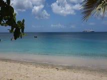 Barn som spelar i det karibiska havet med ett passagerarefartyg i bakgrunden arkivfilmer