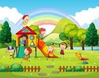 Barn som spelar i parkera på dagen stock illustrationer