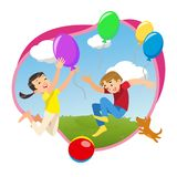 Barn som spelar i, parkerar med ballonger vektor illustrationer