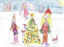 Barn som spelar i vintern, släderitt Royaltyfri Fotografi