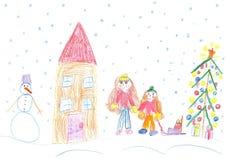 Barn som spelar i vintern, släderitt Royaltyfria Bilder