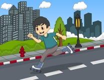 Barn som spelar illustrationen för vektor för tecknad film för rullskridsko Arkivfoton