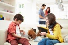 Barn som spelar med hunden på soffan Royaltyfri Fotografi