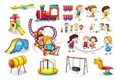 Barn som spelar, och lekplatsuppsättning stock illustrationer
