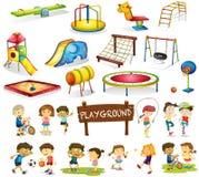 Barn som spelar, och lekplatsuppsättning royaltyfri illustrationer