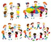 Barn som spelar olika lekar Arkivbilder