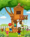 Barn som spelar på treehousen vektor illustrationer