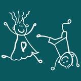 Barn som spelar pojken med flickan stock illustrationer