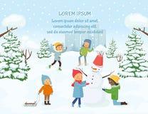 Barn som spelar utanför på bakgrunden av den snöig staden stock illustrationer