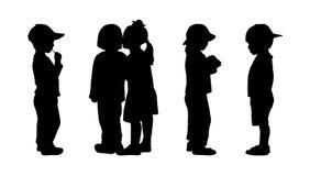 Barn som står konturuppsättning 5 Fotografering för Bildbyråer