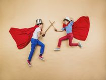 Barn som superheroes Arkivbilder