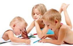 barn som tecknar gruppen royaltyfri fotografi
