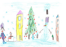 barn som tecknar husberg Barn som spelar i vintern Royaltyfria Foton
