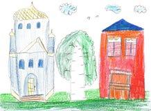 barn som tecknar husberg Hus, träd och kyrka Royaltyfria Foton
