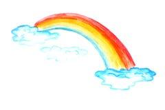 barn som tecknar regnbågen royaltyfria bilder