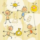 barn som tecknar s Arkivbild
