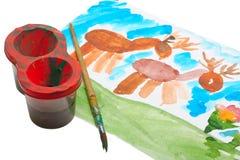 barn som tecknar s-vattenfärg royaltyfri bild