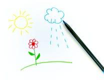 barn som tecknar sunen för blomma s Royaltyfri Foto