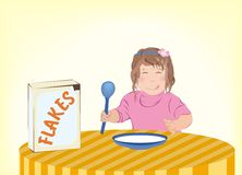 barn som äter flakes Fotografering för Bildbyråer