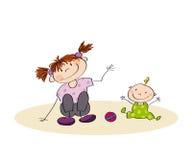 barn som tillsammans leker stock illustrationer