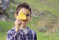 Barn som tycker om hösten Royaltyfria Bilder