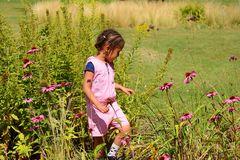 barn som tycker om naturen Arkivbild