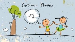 Barn som utomhus spelar och att sjunga stock illustrationer