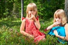 Barn som väljer bär i en sommarskog arkivbilder