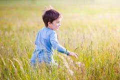 Barn som väljer blommor på en äng royaltyfria bilder