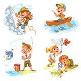 Barn spanar att campa för folkaffärsföretag royaltyfri illustrationer