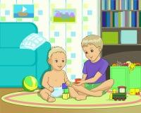 Barn spelar den samspelta vektorillustrationen vektor illustrationer