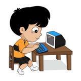 Barn spelar en dator royaltyfri illustrationer