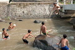 Barn spelar på floden Arkivbild