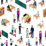 Barn student och lärare Seamless Pattern Background vektor royaltyfri illustrationer