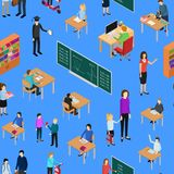 Barn student och lärare Seamless Pattern Background vektor stock illustrationer