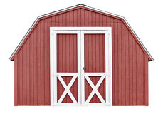Barn style utility tool shed for garden and farm equipment. A red utility tool shed for gardening and farming equipment, isolated on a white background Royalty Free Stock Photography