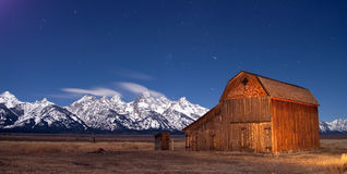 Teton Wyoming Barn at sunset mountains Stock Images