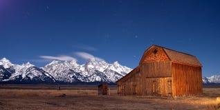 Teton Wyoming Barn at sunset mountains Stock Images