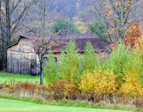 Barn Surrounded by Autumn Trees Stock Photo
