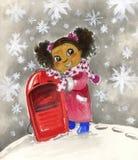 Barn svärtar flickan med den röda pulkan Fotografering för Bildbyråer