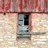 Barn Swallow Flying Out Abandoned Old Farm Window. A Barn Swallow bird is flying out the window of an abandoned old farm building Royalty Free Stock Image