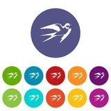 Barn swallow set icons Royalty Free Stock Photography
