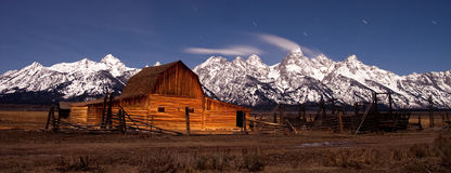Barn Night Sky Teton Mountains Wyoming West Stock Photography