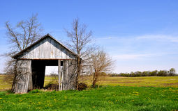 Barn tipping background. Indiana Field Stock Photography