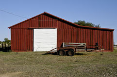 Barn and Trailer. A rural barn and a old trailer in central Texas Stock Photography
