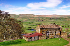 Barn and trees in the Yorkshire Dales. A stone built barn and trees in the peaceful setting of farmland in the Yorkshire Dales, England on a spring day Royalty Free Stock Photography