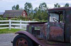 Barn and Truck at the Vineyard. A barn and old rusty truck at the vineyard in lindon utah stock photo