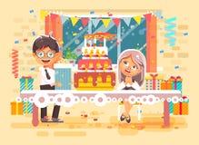 Barn, vänner, elever pojke och flickan för tecken för vektorillustrationtecknad film firar att gratulera för lycklig födelsedag vektor illustrationer