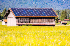 Barn Wih Photovoltaic Cells On The Roof Stock Image