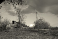 Barn and windmill Royalty Free Stock Image